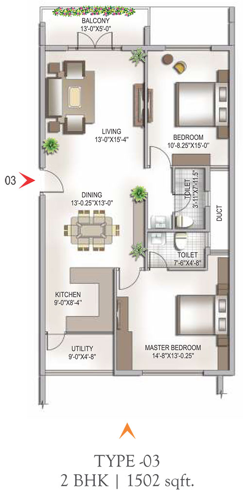 Yashaswinii Meadoows floorplan 1502sqft south facing