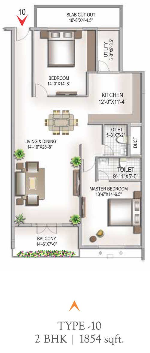 Yashaswinii Meadoows floorplan 1854sqft east facing
