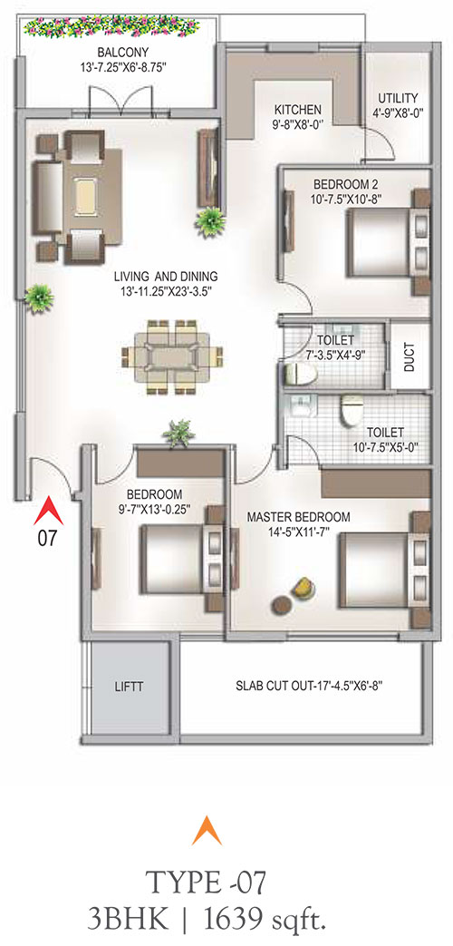Yashaswinii Meadoows floorplan 1639sqft east facing