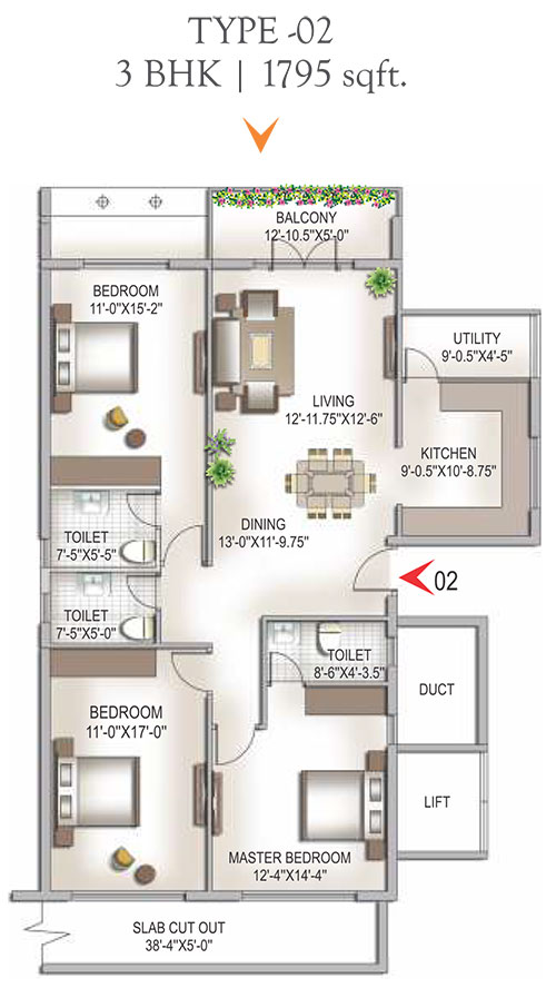 Yashaswinii Meadoows floorplan 1795sqft north facing