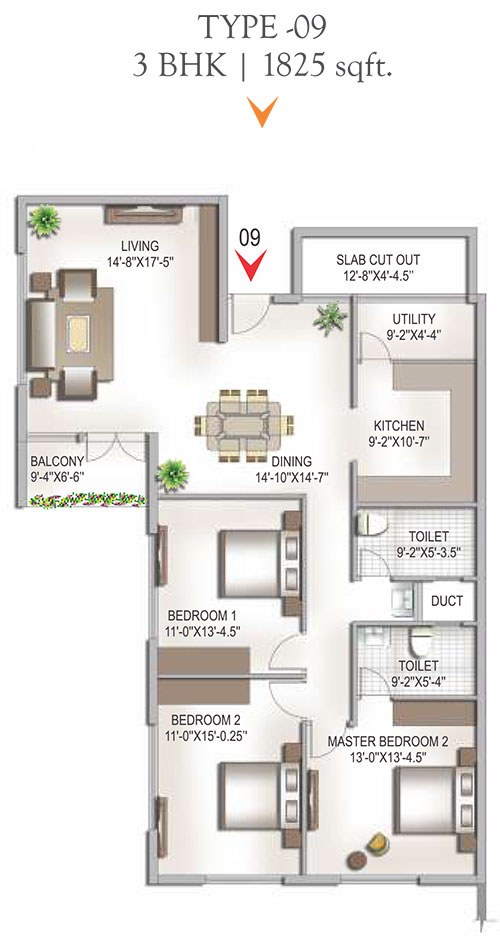 Yashaswinii Meadoows floorplan 1825sqft west facing