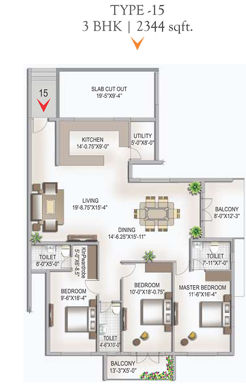 Yashaswinii Meadoows floorplan 2344sqft west facing